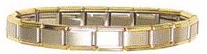 9mm Italian Charm Bracelet with Gold Trim