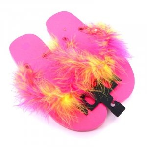 Hot pink and yellow feathered flip-flop