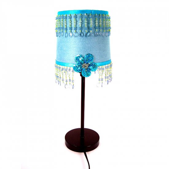 Turquoise and lime-green lamp