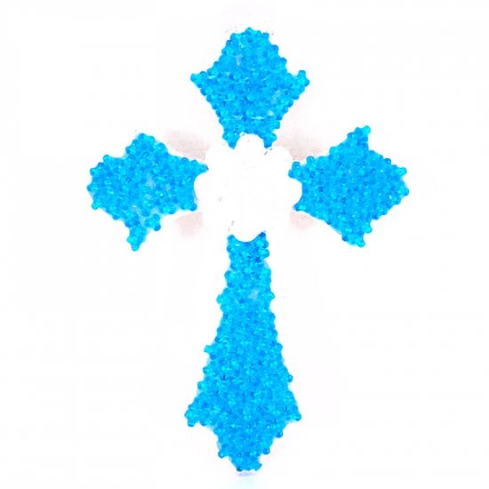 Blue beaded wooden cross.