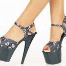 Center-stage - Women's Thick Strap Sandal with Skulls and Ankle Buckle