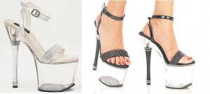 Glamour - Women's Platform Heel with Ankle Buckle and Rhinestone Accents