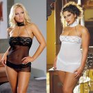 2 Piece Mesh and Lace Babydoll with Silver Chain Halter
