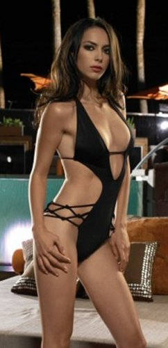 Single Piece Cut Out Side Deep V Swimsuits