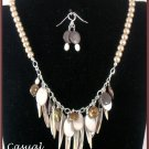"""Ocean Life"" Mother of pearl, freshwater pearls,necklace & earrings"