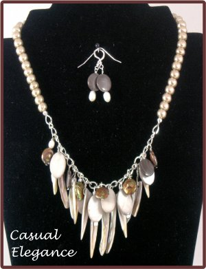 """""""Ocean Life"""" Mother of pearl, freshwater pearls,necklace & earrings"""