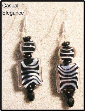 """Safari"" Fun Zebra stripped glass beads earrings"