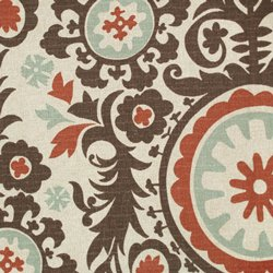 Asian Inspired Suzani Print Red Teal Brown Upholstery Fabric