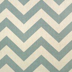 Zig Zag Chevron Misty Blue Cream Stripe Home Decorating Fabric