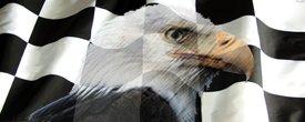 Racing Flag w/ Eagle - Truck Window Perf