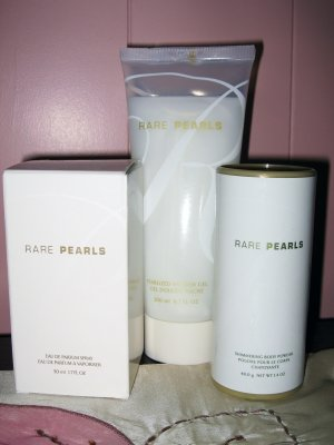 Avon Rare Pearls Parfum, Shower Gel, Shimmering Body Powder NIB