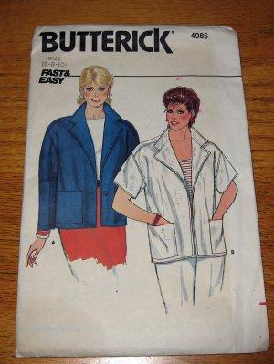 UNCUT Vintage Butterick Jacket Long & Short Sleeve 4985