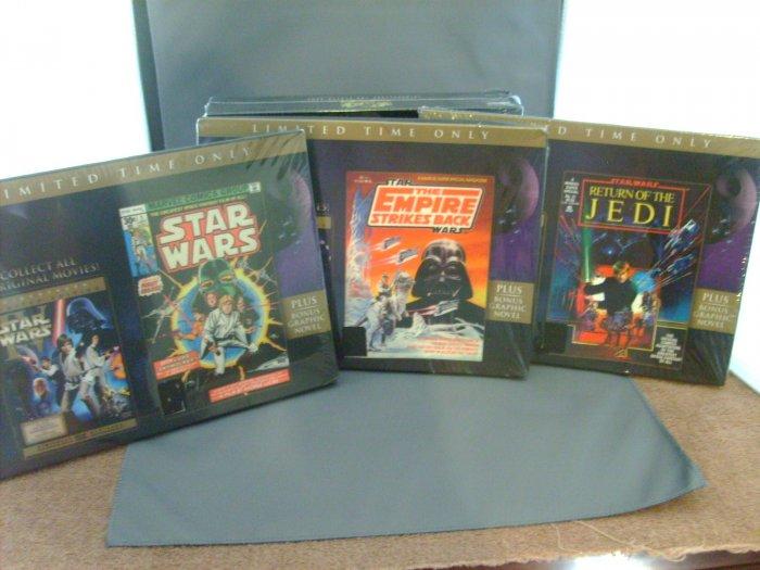 Star Wars ESB Empire Strikes Back ROTJ Return of the Jedi DVD & 3 Comic Novels HTF