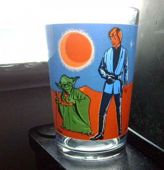 Star Wars Yoda and Luke Luc Vintage Foreign France Glass Very Hard to Find