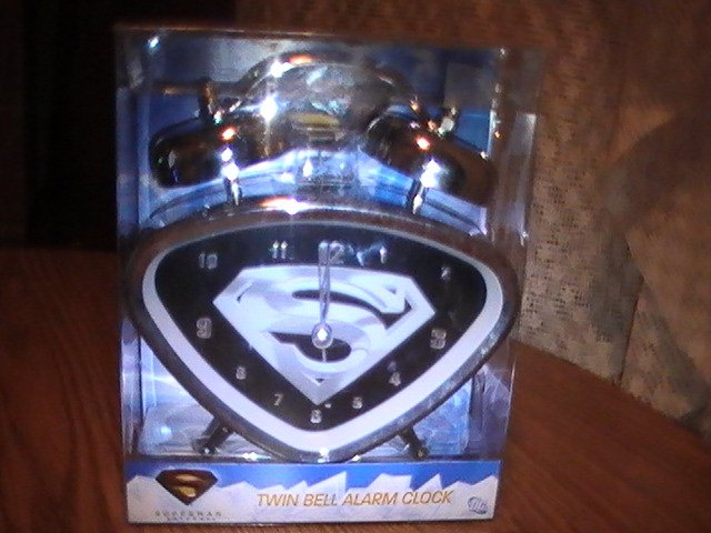 Superman Returns Super Hero Twin Bell Alarm Clock Mint in Sealed Box