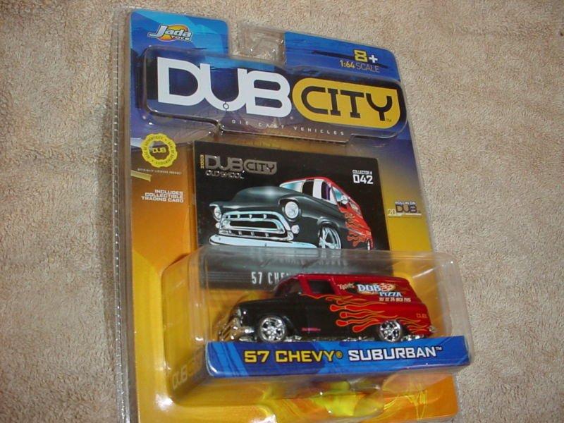 Jada DubCity DUB CITY Old Skool 1957 Die Cast Red Black Flames Chevy Suburban Car Truck