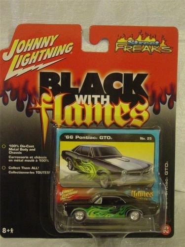 Johnny Lightning 1966 Pontiac GTO Black With Flames Die Cast Car