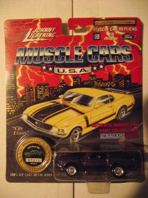 Johnny Lightning JL 1970 Purple Boss Mustang Die Cast Car & Collector Coin