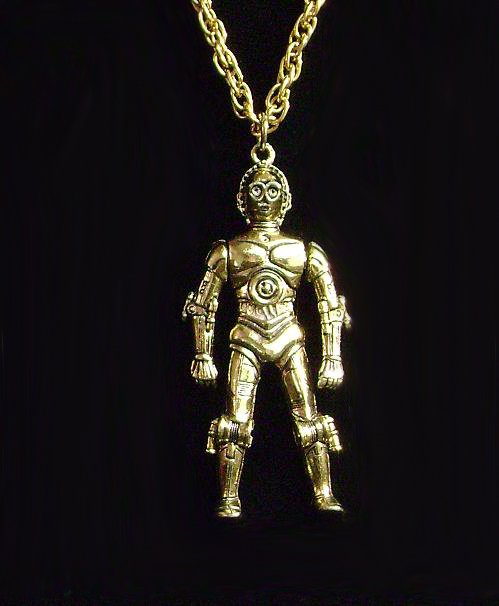 Star Wars Vintage C3PO C Threepio With Moveable Arms Necklace Charm & Chain