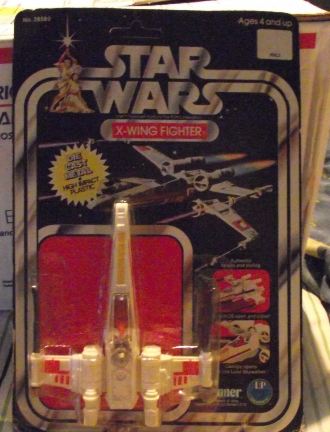 Vintage Star Wars  Die Cast Xwing  Luke X wing  Fighter Price Box Carded Ship