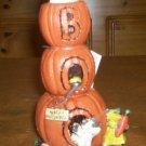 *~NWT Happy Halloween 'BOO' Pumpkins Stacked Figurine-FREE Ship!