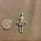 *~Vintage Sterling Silver Pink October Birthstone girl Charm/pendant