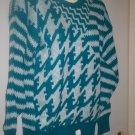 "*~NWT Vintage ""Alexander's Teal & White L/S Sweater sz M"