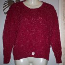 *~SALE!! Vintage Melanie Red & Silver Knit Top sz L