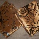 """*~2 New Brown Velvet & Foil Rose Print Throw Pillow Cases/Covers 17""""x17"""""""