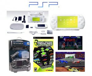 """Sony PSP """"Limited Edition"""" Ceramic White """"Holiday Value Pack"""" - 21 Games + PSP Car Kit"""