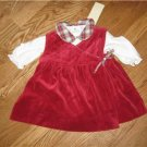 RALPH LAUREN HOLIDAY RED VELVET PLAID DRESS 6 months