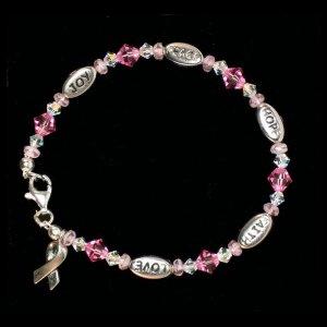 Love, Hope, Faith, Joy, and Peace Bracelet - Pink