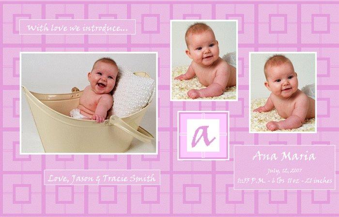 Customizable Birth Announcement: Purple Blocks
