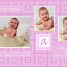 Customizable Birth Announcement: Purple Blocks