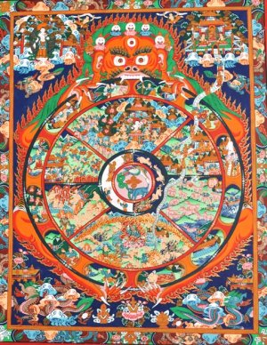 Wheel of life Thangka art  painting from Nepal