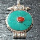 Round pendant with turquise and coral-r5-rs