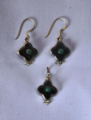 Black onyx stone sterling silver jewelrry set