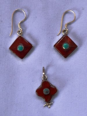 Red coral stone sterling silver jewellery