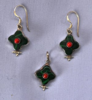 green onyx jewellery set