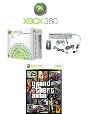 """Xbox 360 """"Premium Gold Pack"""" Video Game System and Grand Theft Auto IV (Xbox 360)"""