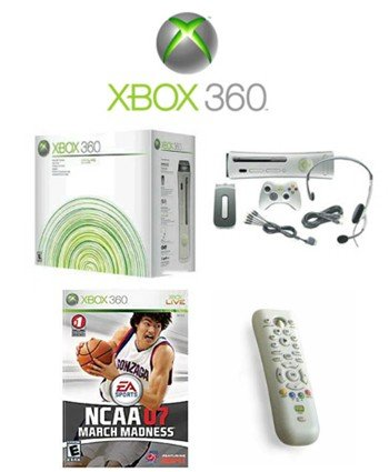 """Xbox 360 """"Premium Gold Pack"""" Video Game System With NCAA March Madness 07 And DVD Remote"""