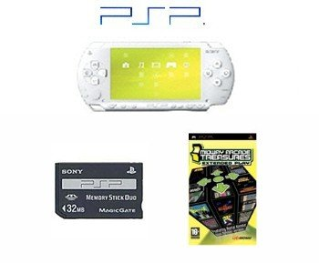 """Sony PSP """"Limited Edition"""" Ceramic White """"Value Bundle"""" - 21 Games and 32MB Memory"""