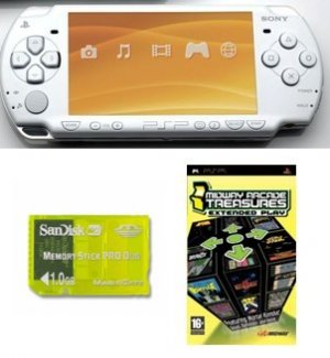 "Sony PSP ""Slim Giga Bundle"" - 21 Games and 1GB Memory Card (White)"