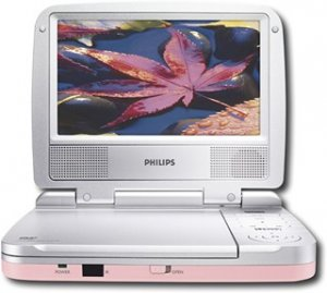 "Philips PET702P - 7"" Susan G Komen Portable DVD Player - Pink"