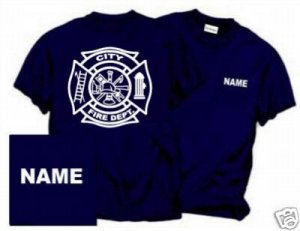 Personalized Maltese Cross Firefighter T-shirt Fire Department Uniforms