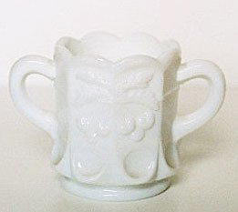 Westmoreland CHERRY Milk Glass Open Sugar USA Vintage