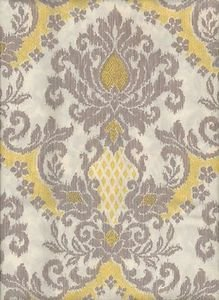 Yellow Gray White Bedazzled Damask Shower Curtain New