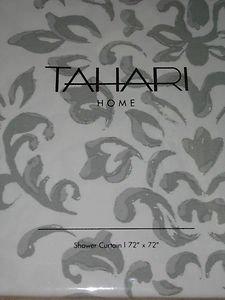 TAHARI Bentley Gray White Damask Paisley Shower Curtain NEW Fleur De Lis