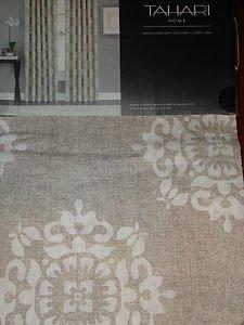 Tahari Tan Brown White Damask Window Panels Drapes Set 2