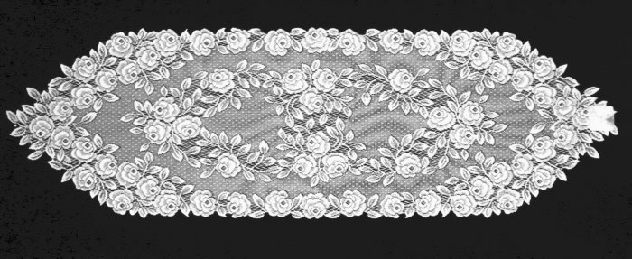 Tea Rose Lace Table Runner 14x48 White Heritage Lace